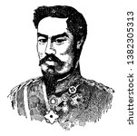 Mutsuhito, 1852-1912, he was the emperor of Japan, vintage line drawing or engraving illustration