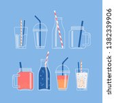vector set of jars  bottles and ... | Shutterstock .eps vector #1382339906