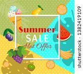 summer sale banner with fruits... | Shutterstock .eps vector #1382419109
