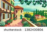 rural landscape with... | Shutterstock .eps vector #1382430806