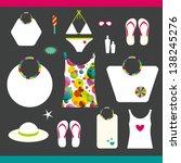 summer beach set. collection of ... | Shutterstock .eps vector #138245276