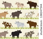 seamless pattern with cows ... | Shutterstock . vector #138247544