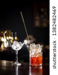 negroni cocktail standing on... | Shutterstock . vector #1382482469