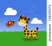 a cute cartoon giraffe and a... | Shutterstock . vector #138250574