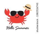 hello summer crab wearing...   Shutterstock .eps vector #1382526743