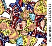 seamless pattern of human heart ... | Shutterstock .eps vector #1382537633