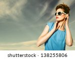 beautiful blond woman wearing... | Shutterstock . vector #138255806