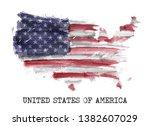 america flag watercolor...   Shutterstock .eps vector #1382607029