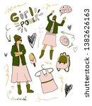 set drawing hipster girl in... | Shutterstock .eps vector #1382626163