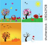 vector set of four seasons with ... | Shutterstock .eps vector #138262928