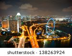 Aerial View Of Singapore With...