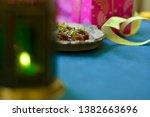 selective focus on pistachio... | Shutterstock . vector #1382663696