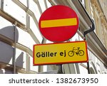 Swedish no entry road sign with ...