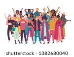 group of diverse people  mixed... | Shutterstock .eps vector #1382680040