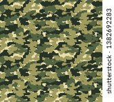 military pixel camo background. ... | Shutterstock .eps vector #1382692283