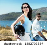 happy smiling couple travelers... | Shutterstock . vector #1382703539