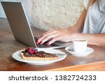 freelance woman working with... | Shutterstock . vector #1382724233