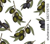 olive branch seamless pattern.... | Shutterstock .eps vector #1382735753