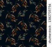 olive branch seamless pattern.... | Shutterstock .eps vector #1382735756