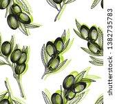 olive branch seamless pattern.... | Shutterstock .eps vector #1382735783