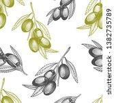 olive branch seamless pattern.... | Shutterstock .eps vector #1382735789