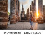 sunset and light in sukhothai... | Shutterstock . vector #1382741603