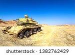 Tank in sand desert scene....