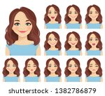 woman with different facial... | Shutterstock .eps vector #1382786879