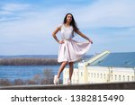 young brunette woman in pink... | Shutterstock . vector #1382815490