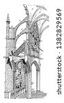 amiens cathedral  cross section ... | Shutterstock .eps vector #1382829569