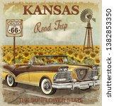 vintage kansas road trip poster.   Shutterstock . vector #1382853350