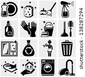 cleaning vector icons set on... | Shutterstock .eps vector #138287294