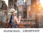 sunset and light in sukhothai... | Shutterstock . vector #1382895359