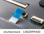computer connector and cable on ...   Shutterstock . vector #1382899400