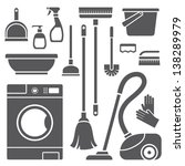 vector set of cleaning symbols | Shutterstock .eps vector #138289979