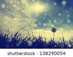 vintage dandelion with blue sky ... | Shutterstock . vector #138290054