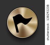 vector metal flag icon   button