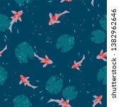 seamless pattern of carp fish... | Shutterstock .eps vector #1382962646