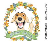 cute dog is smiling and showing ... | Shutterstock .eps vector #1382962649