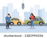 man and girl had a traffic... | Shutterstock .eps vector #1382994356