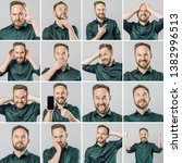 set of handsome man with... | Shutterstock . vector #1382996513