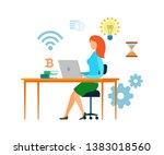 female banker  accountant... | Shutterstock .eps vector #1383018560