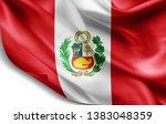 peru flag of silk 3d... | Shutterstock . vector #1383048359