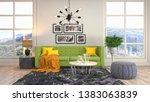 interior of the living room. 3d ... | Shutterstock . vector #1383063839