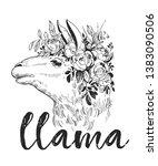llama's head.  and drawn... | Shutterstock .eps vector #1383090506