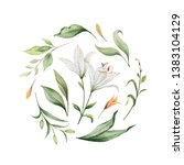 watercolor hand painted... | Shutterstock . vector #1383104129