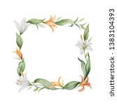 watercolor hand painted wreath... | Shutterstock . vector #1383104393