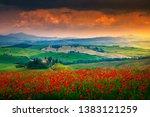 san quirico d' orcia  italy  ... | Shutterstock . vector #1383121259