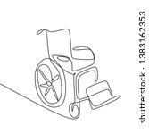 wheel chair continuous line... | Shutterstock .eps vector #1383162353