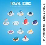 travel icons in isometric style.... | Shutterstock .eps vector #1383164876